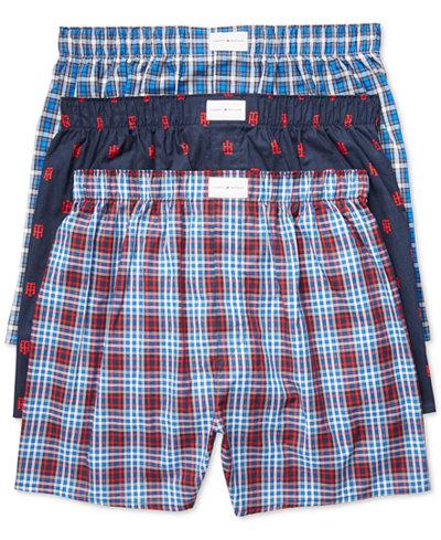 tommy hilfiger men 39 s 3 pack woven cotton boxers. Black Bedroom Furniture Sets. Home Design Ideas