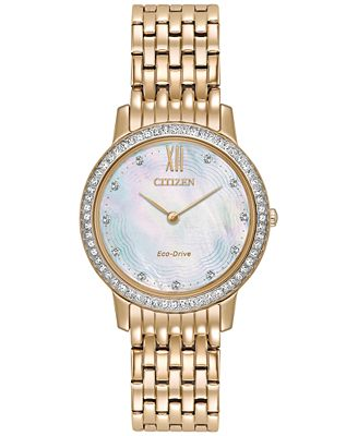 Citizen Eco-Drive Women's Silhouette Crystal Jewelry Rose Gold-Tone Stainless Steel Bracelet Watch 29mm EX1483-50D