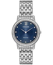 Citizen Eco-Drive Women's Silhouette Crystal Jewelry Stainless Steel Bracelet Watch 29mm EX1480-58L