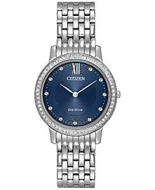 Citizen Eco-Drive Women's Silhouette Crystal Jewelry Stainless Steel Bracelet Watch 29mm EX1480-58L