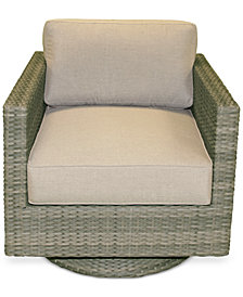 North Port Wicker Outdoor Swivel Club Chair, with Sunbrella® Cushion, Created for Macy's