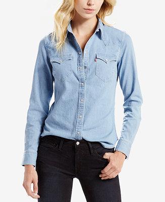levi 39 s vintage denim shirt tops women macy 39 s