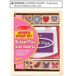 Melissa & Doug Butterflies & Hearts Wooden Stamp Set