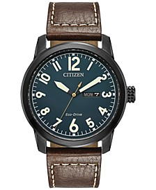 Men's Eco-Drive Military Brown Leather Strap Watch 42mm BM8478-01L