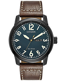 Citizen Men's Eco-Drive Military Brown Leather Strap Watch 42mm BM8478-01L