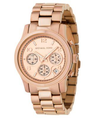 Michael Kors Women\u0026#39;s Runway Rose Gold Plated Stainless Steel Bracelet Watch 38mm MK5128