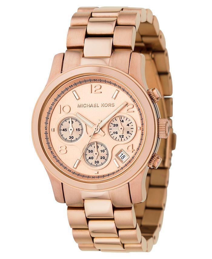 Michael Kors - Women's Runway Rose Gold Plated Stainless Steel Bracelet Watch 38mm MK5128