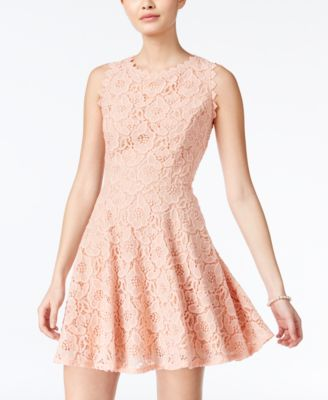 Image of City Studios Juniors' Lace Fit & Flare Dress