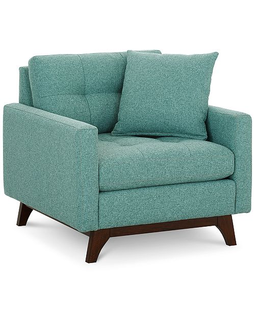 """Furniture Nari 36"""" Fabric Tufted Armchair, Created for Macy's"""