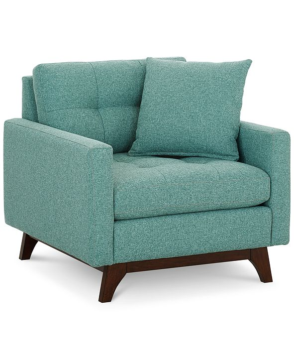 "Martha Stewart Collection Nari 36"" Fabric Tufted Armchair, Created for Macy's"