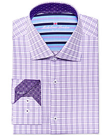 Michelsons of London Men's Slim-Fit Lilac Check Dress Shirt
