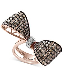EFFY®Espresso Diamond Bow Ring (3-3/8 ct. t.w.) in 14k Rose Gold and Black Rhodium Plate