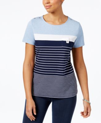 Image of Karen Scott Striped Button-Shoulder Active Top, Created for Macy's