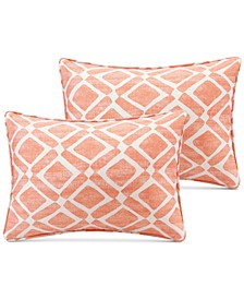 "Delray Diamond-Print 14"" x 20"" Pair of Oblong Decorative Pillows"