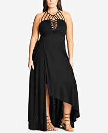 8a31b81f7fe1 City Chic Trendy Plus Size Strappy Halter Maxi Dress