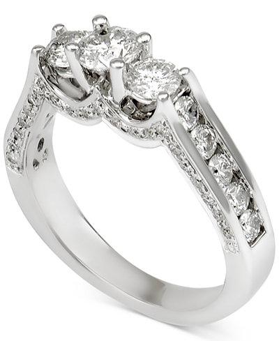 diamond three stone channel set engagement ring 1 12 ct macys - Macys Wedding Rings