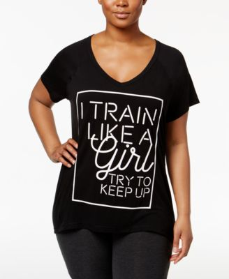 Ideology Plus Size Mesh-Panel Graphic T-Shirt, Only at Macy's