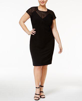 calvin klein plus size illusion banded sheath dress - dresses