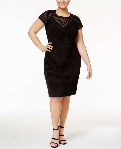 Calvin Klein Plus Size Illusion Banded Sheath Dress