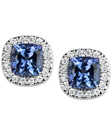Tanzanite (1-1/5 ct. t.w.) and Diamond (1/6 ct. t.w.) Stud Earrings in 14k White Gold