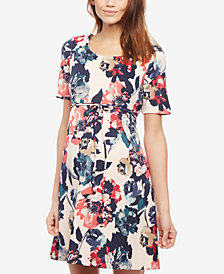 Taylor Maternity Floral-Print Fit & Flare Dress