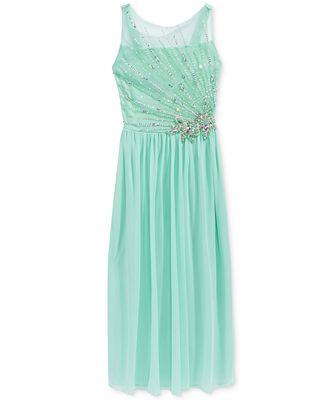 Crystal Doll Embellished-Bodice Maxi Dress, Big Girls (7-16)
