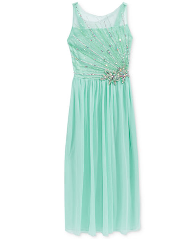 Crystal Doll Embellished-Bodice Maxi Dress, Big Girls (7-16)