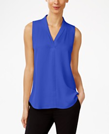 Calvin Klein Pleated V-Neck Shell