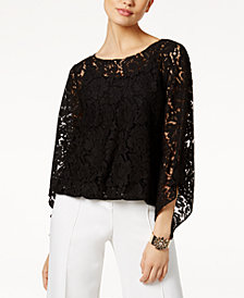 Alfani Petite Lace Bubble Top, Created for Macy's