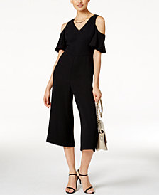 Alfani Petite Cold-Shoulder Wide-Leg Jumpsuit, Created for Macy's