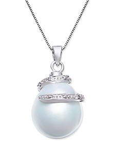 Cultured White South Sea Pearl (13mm) and Diamond Accent Pendant Necklace in 14k White Gold