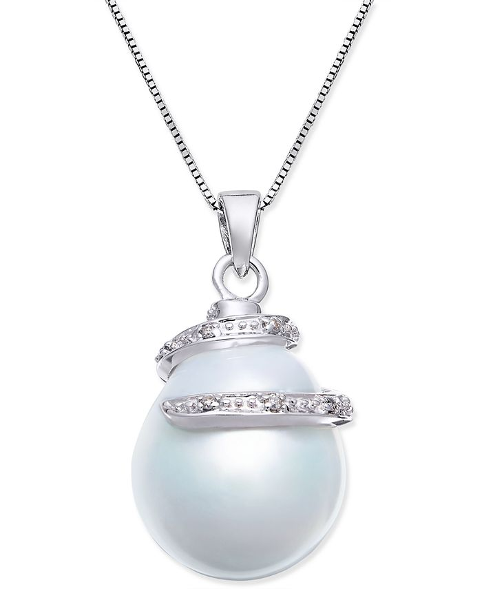 Macy's - Cultured White South Sea Pearl (13mm) and Diamond Accent Pendant Necklace in 14k White Gold