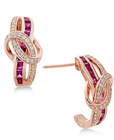 Certified Ruby (1-1/3 ct. t.w.) and Diamond (1/4 ct. t.w.) Drop Earrings in 14k Rose Gold (Also Available in Sapphire & Emerald)