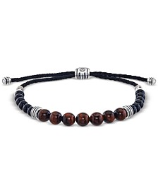 Tiger's Eye (8mm) and Onyx (6mm) Beaded Bolo Bracelet in Sterling Silver, Created for Macy's