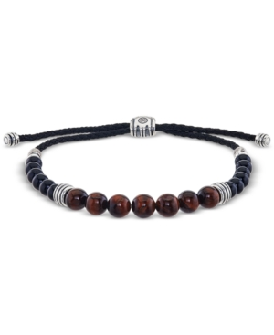 Tiger's Eye (8mm) and Onyx (6mm) Beaded Bolo Bracelet in Sterling Silver