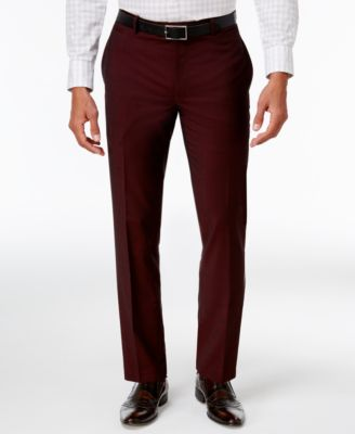I.N.C. Men's Slim-Fit Burgundy Pants, Created for Macy's