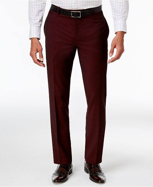 INC International Concepts I.N.C. Men's Slim-Fit Burgundy Pants, Created for Macy's