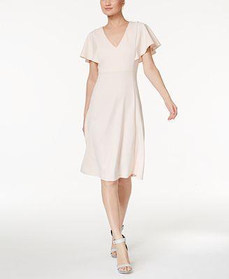 Calvin Klein Petite Flutter-Sleeve A-Line Dress