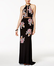Xscape Embroidered Open-Back Illusion Halter Gown