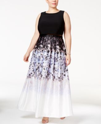 Betsy & Adam Plus Size Illusion 2-Pc. Printed Gown