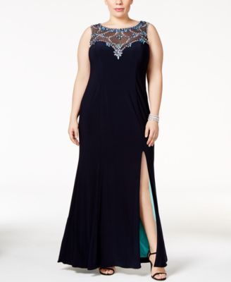 Betsy & Adam Plus Size Embellished Illusion Sweetheart Gown