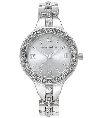 Charter Club Women's Silver-Tone Crystal Bracelet Watch 33mm, Only at Macy's