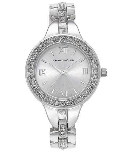 Charter Club Women's Silver-Tone Crystal Bracelet Watch 33mm, Created for Macy's