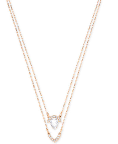 Swarovski Rose Gold-Tone Crystal Double Layer Pendant Necklace