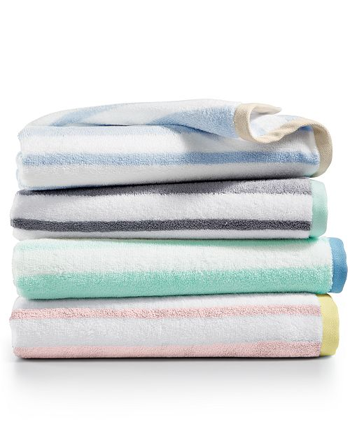 Martha Stewart Collection Stripe Bath Towel Collection, Created for ...