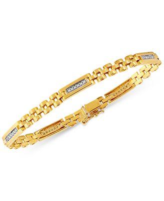 Macy S Men S Diamond Link Bracelet 1 4 Ct T W In 10k Gold