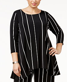 Alfani Plus Size Striped High-Low Top, Created for Macy's