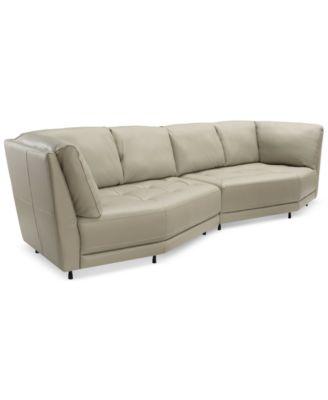 Belice 2Pc Leather Modular Sofa Created for Macys Furniture