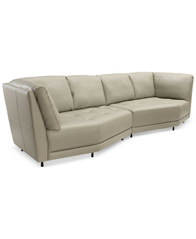 CLOSEOUT! Belice 2-Pc. Leather Modular Sofa, Created for Macy's