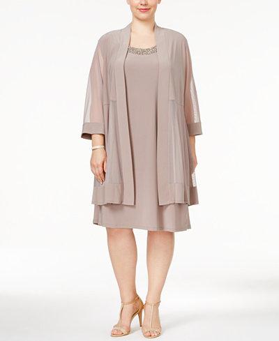 R Amp M Richards Plus Size Shift Dress And Jacket Dresses